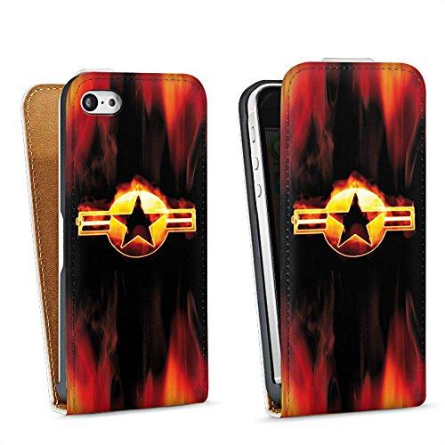 Apple iPhone 4 Housse Étui Silicone Coque Protection Étoile Emblême Flammes Sac Downflip blanc