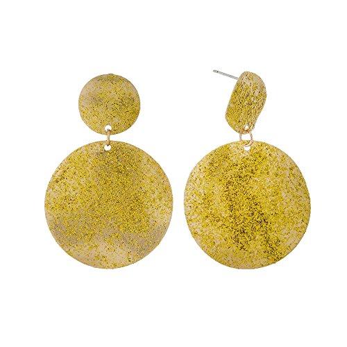 Tata Gisèle Pendientes fantasía pendantes en Metal Dorado–Martillado–2Discos Redondo–de Lunares Purpurina