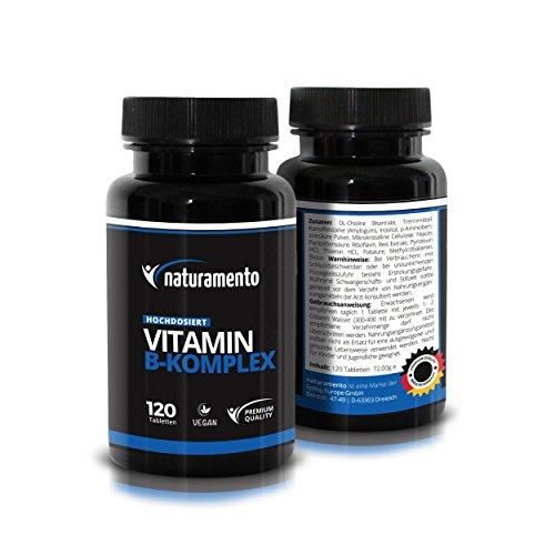 Vitamin B-Komplex Hochdosiert 120 Kapseln Premium Qualität - Vitamintabletten vegan glutenfrei laktosefrei - 4-Monatspackung Nahrungsergänzungsmittel (B1 B2 B3 B5 B6 B7 (Biotin) B9 (Folsäure) B12)