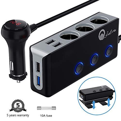 QC 3.0 Auto Ladegerät 3-Fach, 12V/24V Zigarettenanzünder Verteiler USB Kfz Adapter 120W DC Mehrfach Steckdose Splitter mit Voltmeter Schalter 4 USB Anschlüsse für GPS Dash Cam iPhone iPad Android 12-volt-splitter
