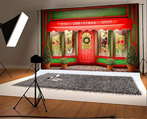 YongFoto 7x5ft Photography Backdrop Christmas Shop Outdoor Celebration Photo Background Backdrops for Photography Photo Shoots Party Adults Kids Wedding Personal Portrait Vinyl Photo Studio Props