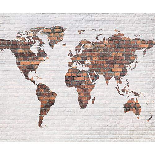 decomonkey Fototapete Weltkarte 350x256 cm XL Tapete Wandbild Wandbild Bild Fototapeten Tapeten Wandtapete Wandtapeten Kontinente Welt Ziegel Ziegelstein weiß