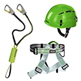 Alpidex Kletterhelm ARGALI + Alpidex Klettergurt TAIPAN green pepper + Edelrid Klettersteigset Cable Kit Lite 5.0, Farbe:apple green