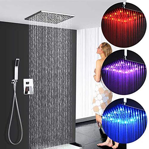 Ducha empotrados LED ducha de lluvia cabeza de ducha RGB ducha de...