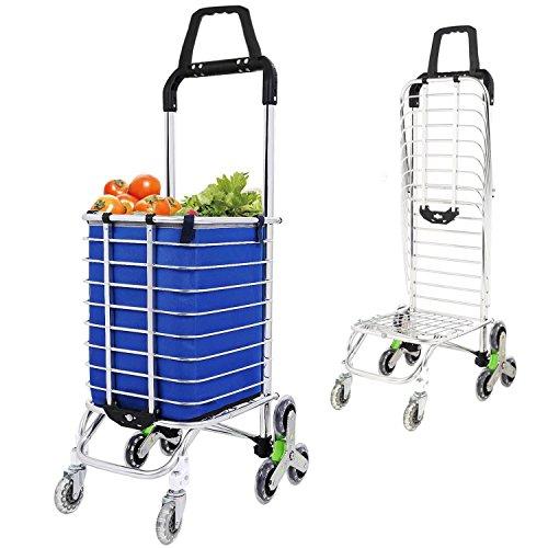 zusammenklappbar Utility Warenkorb, Treppe Klettern Warenkorb Rolling Lebensmittels Warenkorb mit drehbaren Rädern, doppelte Griff, 177Pfund Kapazität -