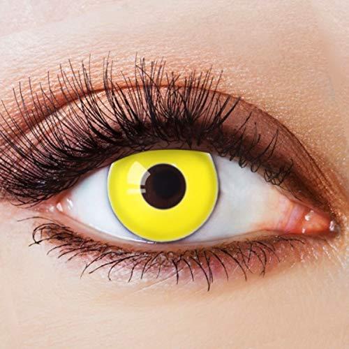 Farbige Kontaktlinsen Gelb Motivlinsen Ohne Stärke mit Motiv Gelbe Linsen Halloween Karneval Fasching Cosplay Kostüm Yellow Neon Nights