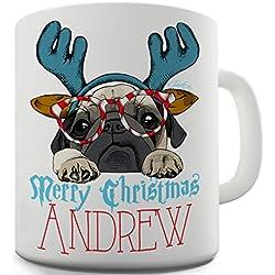 Taza de cerámica taza con carlino medio reno navideño