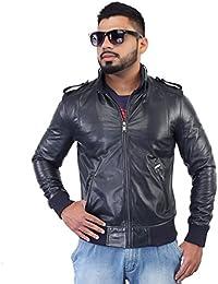 BARESKIN Men'S Navy Blue Shoulder Strap Genuine Leather Biker Jacket ,Premium Quality