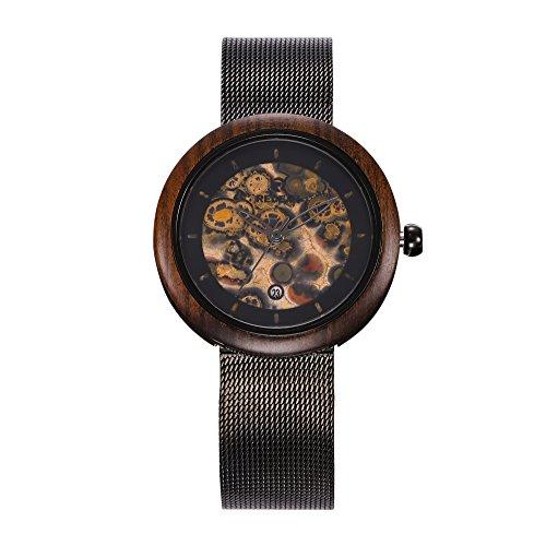 Cqing Leopard Quarzuhr Edelstahlgewebe Band Holzgehäuse Uhr, kleines Gesicht, Kalender Armbanduhren für Frauen schwarz