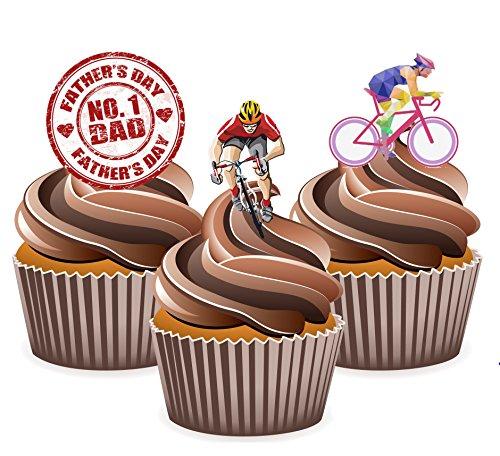 Vater 's Day Radfahren Kuchen Dekorationen–essbar Stand-up Cup Kuchen Topper (Pack von (Halloween Mad Men)