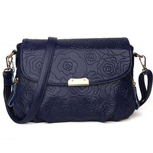 Donna Cuoio Goffrato Madre Pack Retro Moda Singola Spalla Crossbody Bag Blue