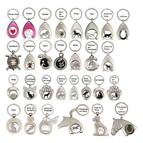 NETPROSHOP Schlüsselanhänger mit Chip für Einkaufswagen in Tierform aus Metall, Auswahl:Katzenkopf mit Katze