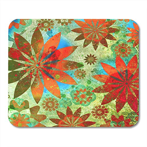 Gaming Mauspad Tropical Vintage Floral in Indian Flower Funky Quilt Coffee Album 11.8
