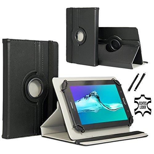 Real Leder Case Cover für Lenovo IdeaPad Miix 310 10ICR Tablet Schutzhülle Etui mit Touch Pen & Standfunktion - 10.1 Zoll Schwarz 360