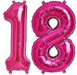 ballonfritz Ballon Zahl 18 Set in Pink - XXL 102cm – Folienballons für Luft Oder Helium als Geburtstag Geschenk, Party Dekoration Oder Überraschung