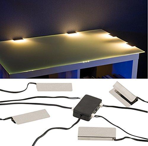 Lunartec Glasbeleuchtung: LED-Glasbodenbeleuchtung: 4 Klammern mit 12 warmweißen LEDs (LED Glaskantenbeleuchtung)