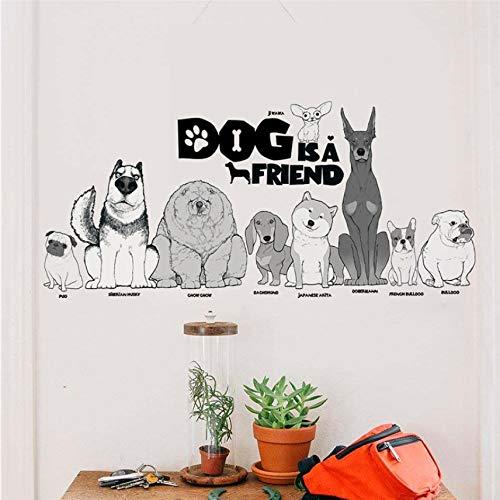 LXHLXN Hund Ist EIN Freund Wandaufkleber Wohnkultur Wohnzimmer Kinderzimmer Cartoon Tier Wandtattoos DIY Wandbild Kunst PVC Removable Poster 35Cmx76Cm