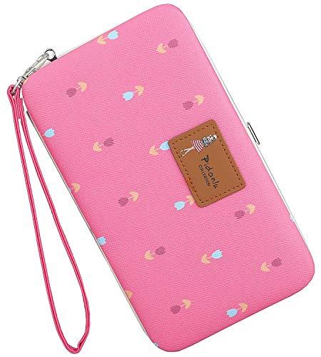 Coolstar Leder Clutch Brieftasche für Damen Handgelenk Hard Case Lange Geldbörse für iPhone X / 8/8 Plus / 7/7 Plus Floral Large Pflaume (Frauen Iphone Brieftasche)