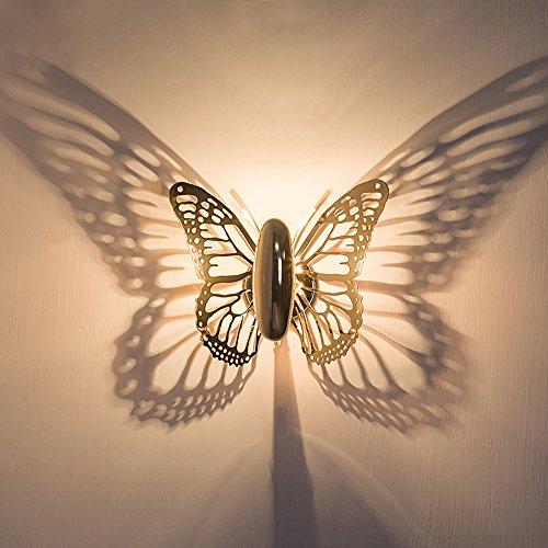 Kreative LED Schmetterling Schatten Wand Lampe Projektions Schlafzimmer Wohnzimmer Wand Lampe Interior Wallpapers -