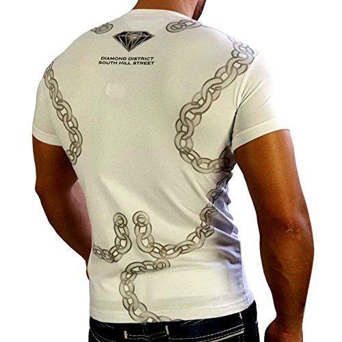 Herren T-Shirt Mix Motive Strass Steine Style Rundhals Kurzarm S M L XL XXL NEU 3463 Weiß
