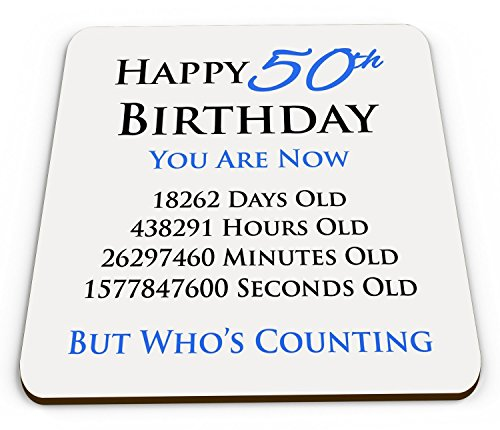 Happy 50th Birthday Message Drinks Coaster