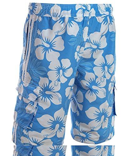 Herren Boardshorts / Badeshorts / Badehose / Hibiskus / Surfen / Okoberfest / verschiedene Farben / Sommer / Strand f5150 Türkis/Blau/Weiß Hibiskus Design