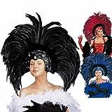 Brasilianischer Federkopfschmuck Showgirl Federschmuck schwarz Karibischer Kopfschmuck Samba Federkrone Rio Kopfbedeckung Feather Headdress Brasilien Kostüm Accessoire