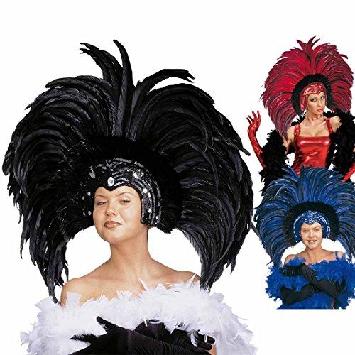 Amakando Brasilianischer Federkopfschmuck Showgirl Federschmuck schwarz Karibischer Kopfschmuck Samba Federkrone Rio Kopfbedeckung Feather Headdress Brasilien Kostüm Accessoire