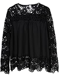 f56a3d2ebb Eleery New Fashion Women Solid Lace Crochet Chiffon Shirt Sheer Long Sleeve  Hollow Out Embroidery Top