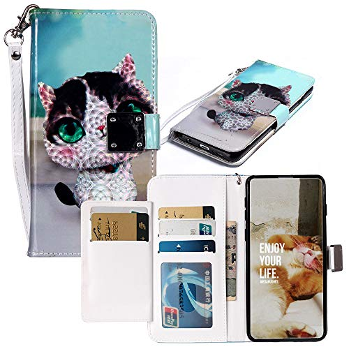 JZ Touch 5 Hülle,[3D Painted] Metal Magnetic Clasp PU Leather Wallet Flip Cover Für iPod Touch 6 - Cat Ipod Touch-strap