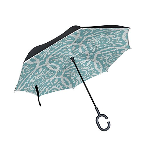 LEISISI Ocean Waves Mosaic Patterns Reverse Umbrella Inverted Double Layer Windproof UV Protection Reverse Folding Umbrellas Inverted Umbrella Travel Umbrella with C Shaped Handle