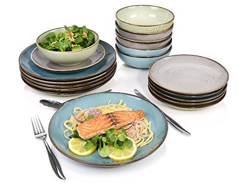 Bluespoon Geschirrservice Denver aus Porzellan 18 teilig | Füllmenge der Schalen 500 ml | Farbiges Tafelservice beinhaltet Schüsseln, Speiseteller und Dessertteller