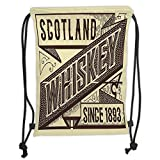 DANCENLI Drawstring Sack Backpacks Bags,Man Cave Decor,Whiskey Label Design Old Fashion Scotland Alcohol Drink Taste Quality Decorative,Brown Sand Brown Soft Satin,5 Liter Capacity,Adjustable St