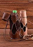 Geschnürter Flaschenhalter aus Leder für 500 ml Flasche Wasserflasche Outdoorflasche verschiedene Farben (Schwarz)