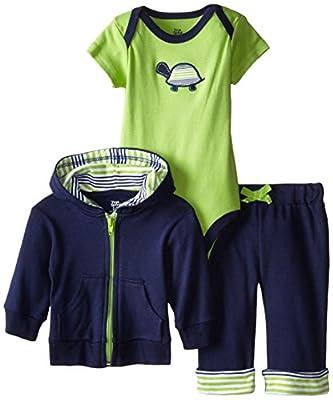 Yoga Sprout 90040 Kapuzenjacke, Body und umschlagbare Yoga Hose für Babies und Kleinkinder, Schildkröten Design