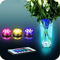 Fomccu Submersible 10 LED Light Waterproof Party Lamp Underwater Wireless Remote Control Colorful Led Light 16 Color Options by Fomccu