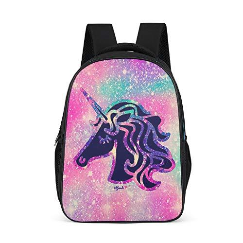 Runinixx Galaxy Unicorn Rucksack Kinder Mädchen Leichter Schulrucksäcke Schultasche Teenager Mädchen Daypack Rucksack Laptop Rucksack für Damen Grey l32*w18*h42cm