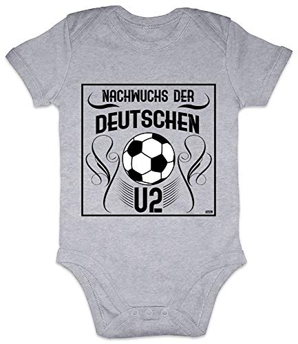 HARIZ Baby Body Kurzarm Nachwuchs Der Deutschen U2 Baby Spruch Paten Onkel Tante zur Geburt Vatertag Inkl. Geschenk Karte Bleistift Grau 3-6 Monate