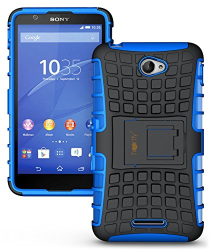 Heartly Flip Kick Stand Spider Hard Dual Rugged Armor Hybrid Bumper Back Case Cover For Sony Xperia E4 - Power Blue