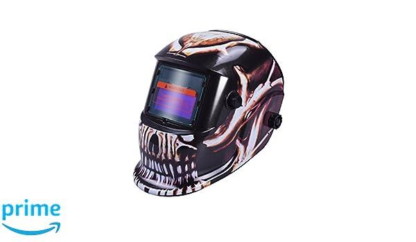 13/UV//IV Schutz DIN16/Cool Skull nuzamas solarbetrieben Schwei/ßschutzschild Maske Schwei/ßen Face Schutz f/ür Arc Tig Mig Schleifen Plasma Schneiden mit verstellbarem Shade-Reihe DIN4//9