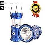 3-in-1 Rechargeable Solar Ultra Bright Led Camping Lantern & Portable Outdoor Survival Lamp for Fishing ,Emergency,Hurricanes,Hiking,Hunting,Storm (Blue)
