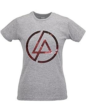 LaMAGLIERIA Camiseta Mujer Slim Linkin Park Texture Logo - T-Shirt Rock Metal 100% Algodòn Ring Spun