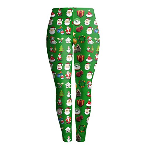 5x Super Kostüme Größe Plus (Frauen Mädchen Mädchen Weihnachten Kostüm Gedruckt Yoga Hosen Aktiv Workout Leggings Stretch Strumpfhosen 2er)