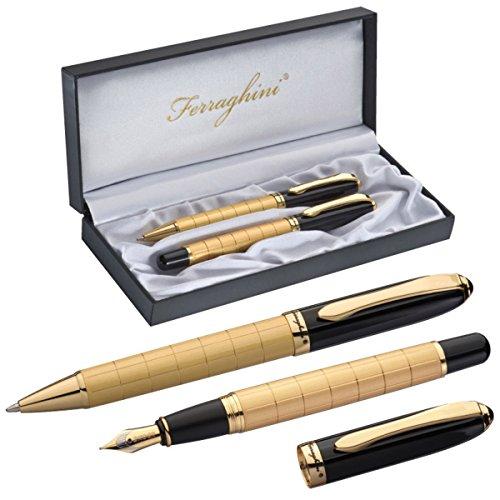Exklusives Ferraghini Schreibset - Kugelschreiber und Füller in Goldoptik