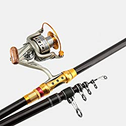 Lnpp Telescopic Fishing Rod & Reel Combos, Carbon Fiber Spinning Rod & Reel Combo,3.6m