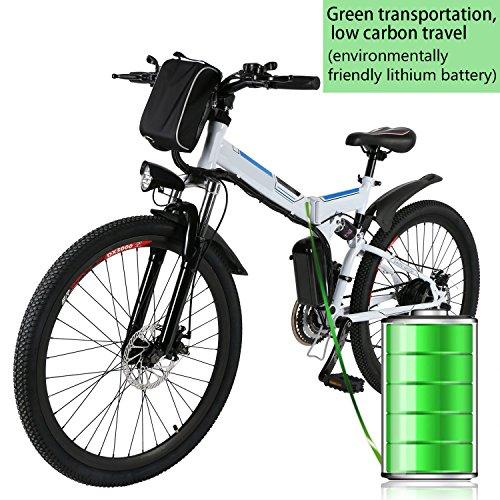 Kaimus Bicicletta elettrica pieghevole, MTB E-bike, 26pollici e di bicicletta pieghevole Mountain Bike, 36V 8AH 250WH Batteria al Litio, 21velocità Shimano Ruota Dentata, Adulti (unisex), bianco
