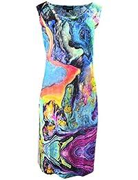 Femmes robe sans manches avec motif imprimé multicolore