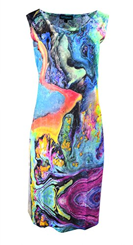 Femmes robe sans manches avec motif imprimé multicolore Multicolore
