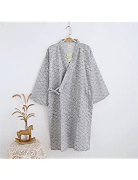 SUxian Gran Albornoz de Verano de los Hombres Modelo de Onda de algodón Cardigan Pijamas Albornoz