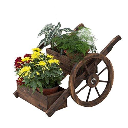 SMC Blumenständer Kleiner schwebender antiseptischer hölzerner Carbonization Blumen-Stand-Pflanzenblumen, die Gemüse-Blumentopf-Balkon-Dekoration-Floss-Blumen-Stand-Doppelrad-Hin- und Herbewegung pflanzen (Floß Blume)